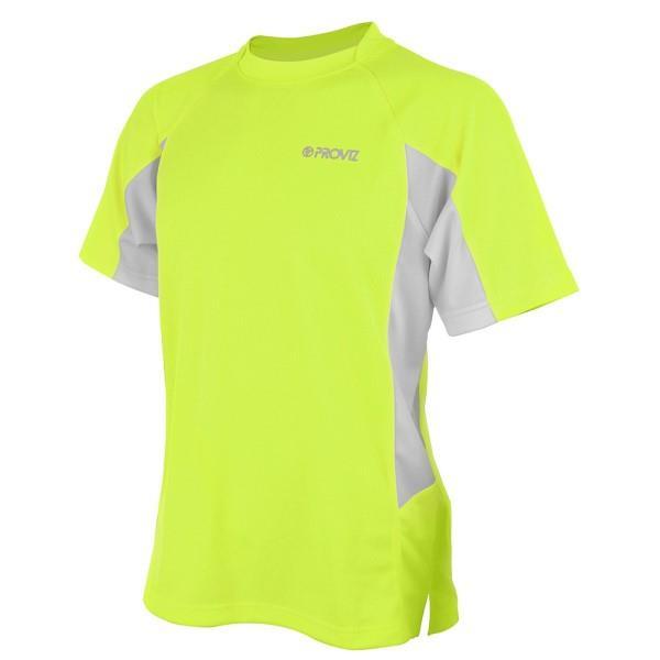 Proviz Active Hi-Vis Mens Running T-Shirt - Yellow/Grey