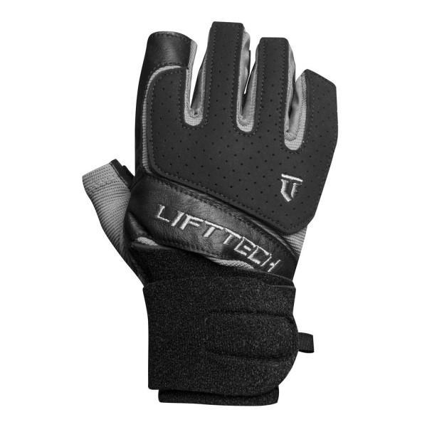 Lift Tech Klutch Mens Wrist Wrap Gloves - Black/Silver