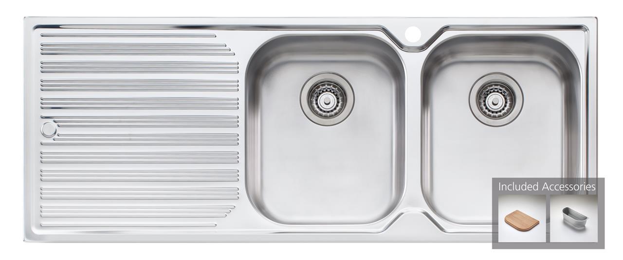 Oliveri Diaz double bowl, single drainer inset sink - DZ172