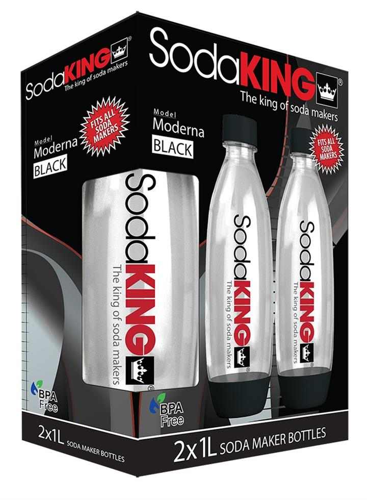 SodaKING Moderna Bottles Twin Pack - Black - 612231