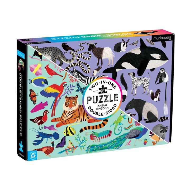 Double Sided Puzzle 100Pc Animal Kingdom