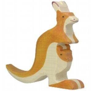 Holztiger Wooden Kangaroo with Young