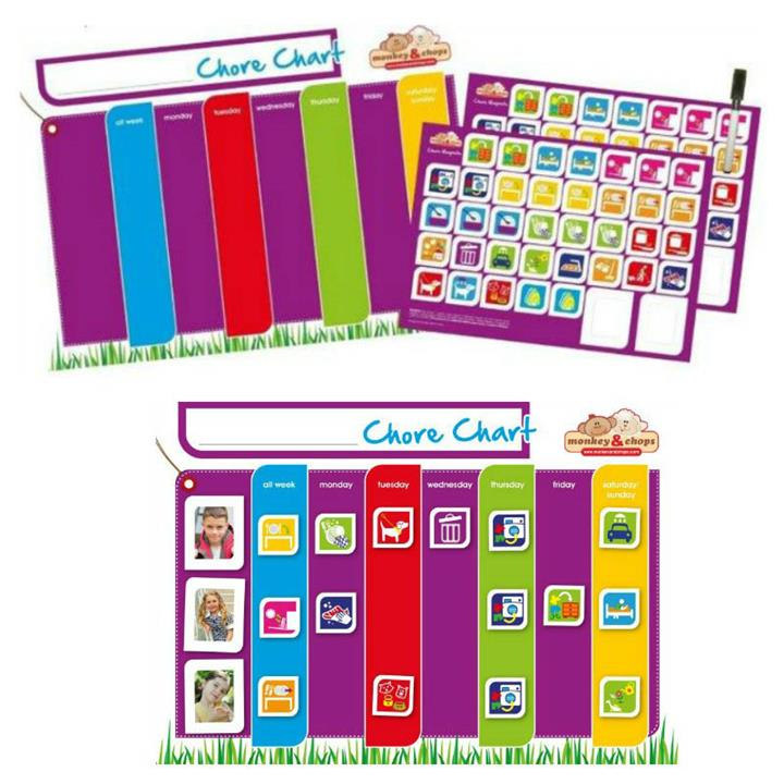 Monkey & Chops Fully Magnetised Chore Chart