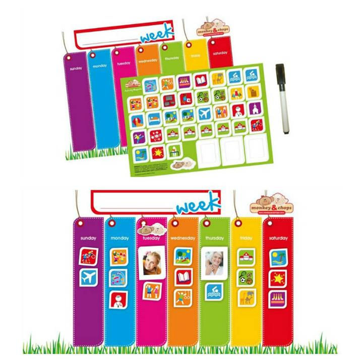 Monkey & Chops Magnetised Weekly Activity Planner