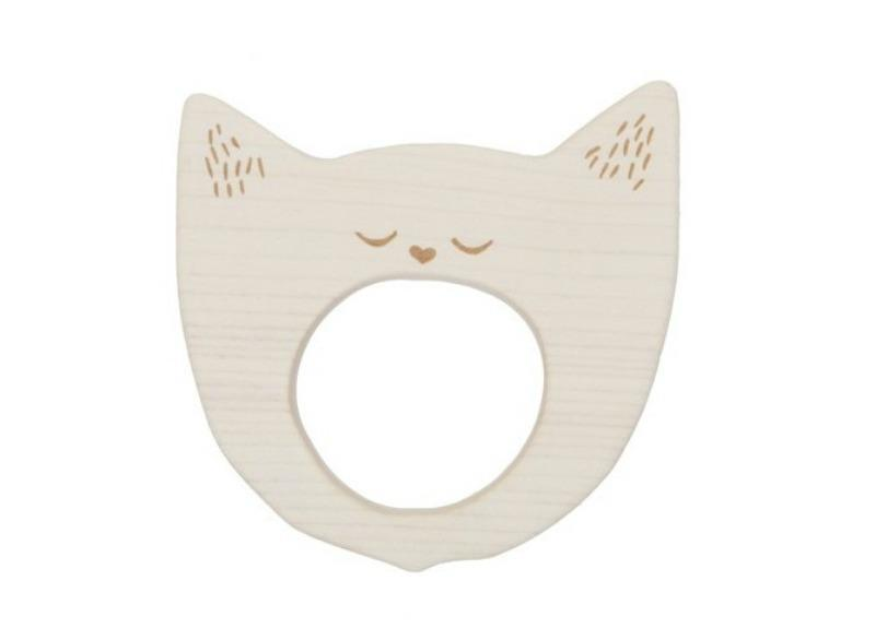 Wooden Story Yawning Cat Maple Wood Teether