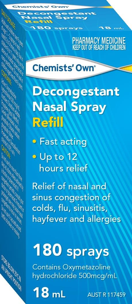 Image of Chemists' Own Decongestant Nasal Spray REFILL 18ml