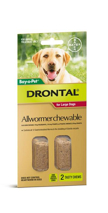 Image of Drontal Chewable Dog Allwormer 35kg Tab X 2