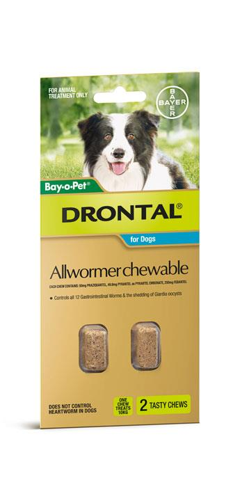 Image of Drontal Chewable Dog Allwormer 10kg Tab X 2