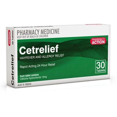 Image of Cetrelief 10mg Tab X 30 (Generic for ZYRTEC)