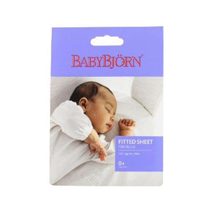 Image of BabyBjorn Fitted Sheet For Cradle (Natural White Organic)