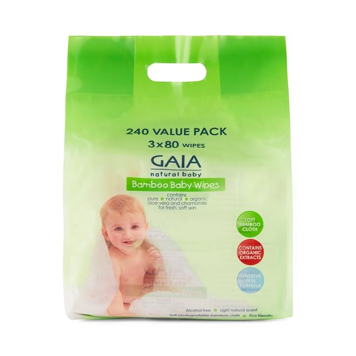 Image of Gaia Natural Bamboo Baby Wipes 240 Wipes Value Pack