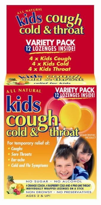 Image of Kids Cough, Cold & Throat Lozenges On A Stick (Variety) X 12