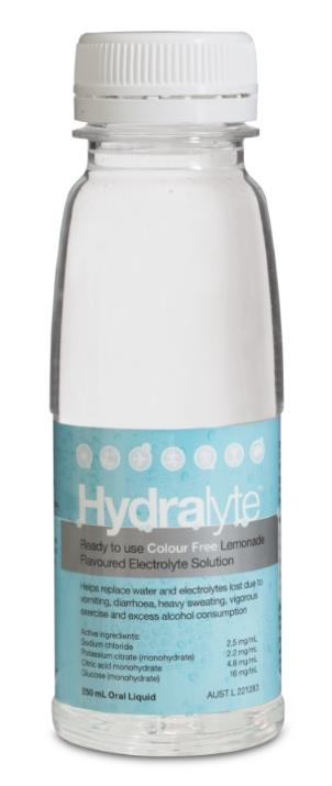 Image of Hydralyte Electrolyte Solution Colour Free Lemonade Flavoured 250ml