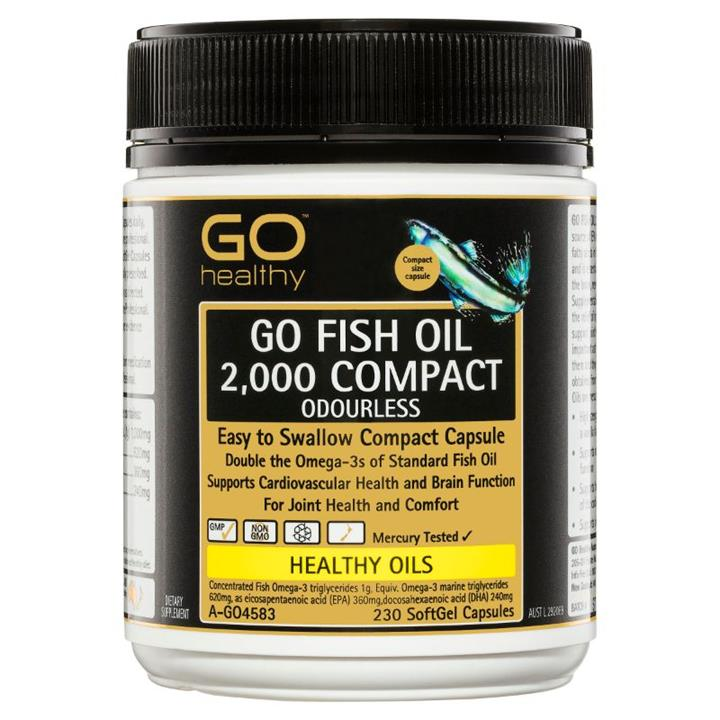 Image of GO Healthy Go Fish Oil 2000mg Compact Odourless Cap X 230