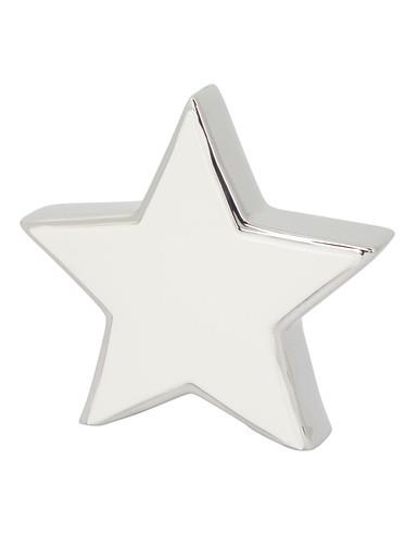 Image of White Star With Silver Standing Ceramic Christmas Ornament - 16cm