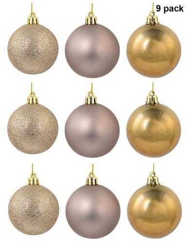Image of Matte Fawn, Shiny Bronze & Bonze Glitter Baubles - 9 x 60mm