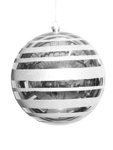 Image of Metallic Silver With Silver Glitter Stripe Large Bauble Display Decoration - 25cm