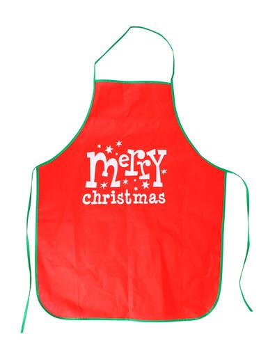 Image of Merry Christmas With Stars Red Polyester Apron - 1 Size Fits Most