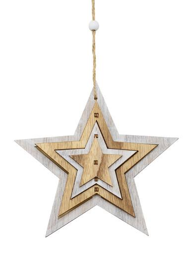 Image of Natural & White Layered Wood Star Hanging Decoration - 15cm