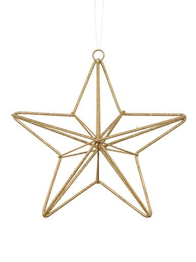 Image of Gold Glittered 3D Wire Framed Five Point Star Hanging Decoration - 16cm