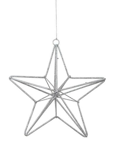 Image of Silver Glittered 3D Wire Framed Five Point Star Hanging Decoration - 16cm