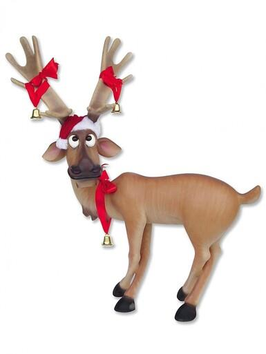Image of Funny Standing Resin Life Size Reindeer - 1.4m
