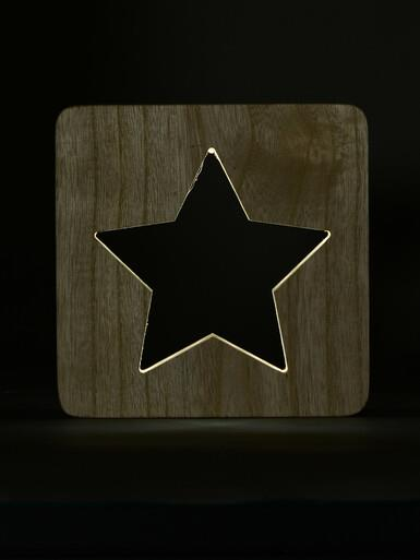 Image of Wooden Star Laser Cut-Out With Recessed White LED Strip Ornament - 18cm