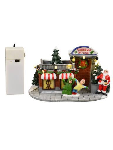 Image of Illuminated Santa's Christmastime Carnival House Scene - 10cm