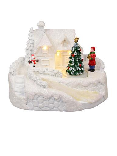Image of Illuminated & Animated Snowy Winter Home With River & Tree Scene - 13cm