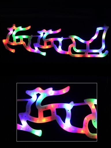 Image of Illuminated Multi Colour Sleigh & Two Reindeer Silhouette - 57cm
