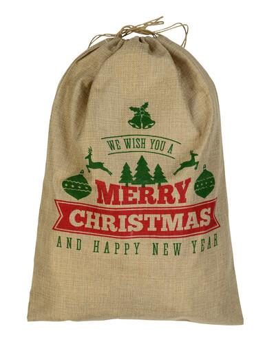 Image of Jute We Wish You A Merry Christmas & Happy New Year Gift Santa Sack - 55cm