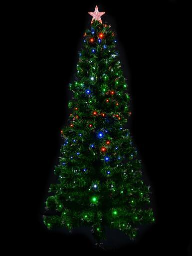 Image of Multi Colour LED's & Fibre Optics Christmas Tree - 1.8m