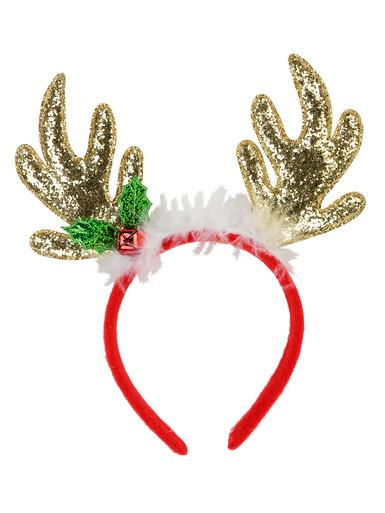 Image of Gold Sequin Reindeer Antlers With Mistletoe, Bell & White Fluff Trim - 22cm
