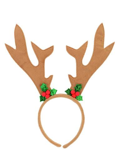 Image of Brown Velvet Reindeer Antlers With Mistletoe Decorations - 26cm
