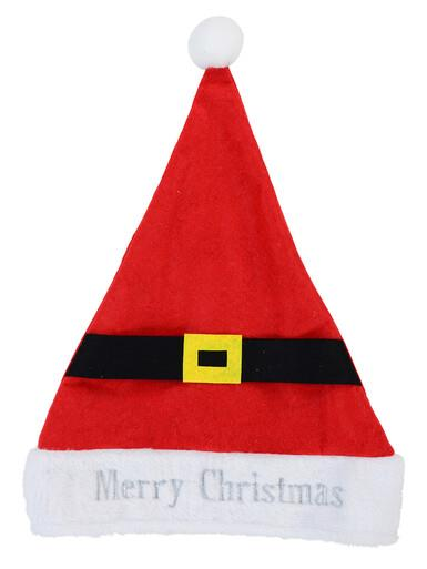 Image of Embroidered ' Merry Christmas ' Felt Santa Hat With Belt & Buckle - 39cm