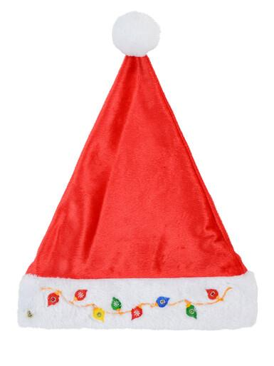 Image of Flashing Lights Soft Plush Santa Hat With Embroidered Baubles & Lights - 39cm