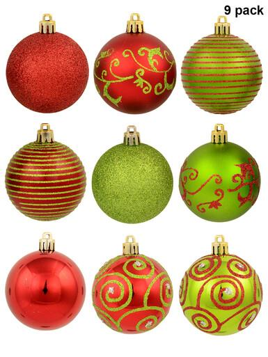 Image of Various Green & Red Baubles With Plain & Glittered Patterns - 9 x 60mm