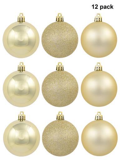 Image of Gold Matte, Metallic & Glitter Baubles - 12 x 60mm