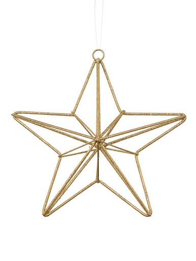 Image of Gold Glittered Twine Wrapped Look 3D Star Hanging Decoration - 18cm
