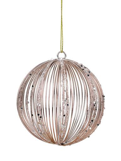 Image of Rose Gold Wire Glittered Bauble Shape Hanging Decoration - 80mm