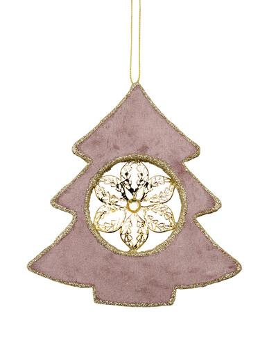 Image of Dusty Pink Velvet Tree With Poinsettia Centre Hanging Decoration - 15cm