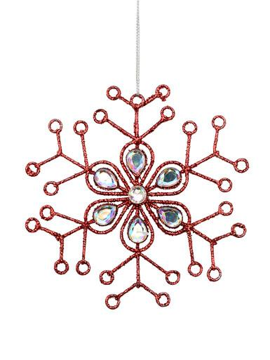 Image of Red Glitter Snowflake With Encrusted Diamante Hanging Ornament - 12cm
