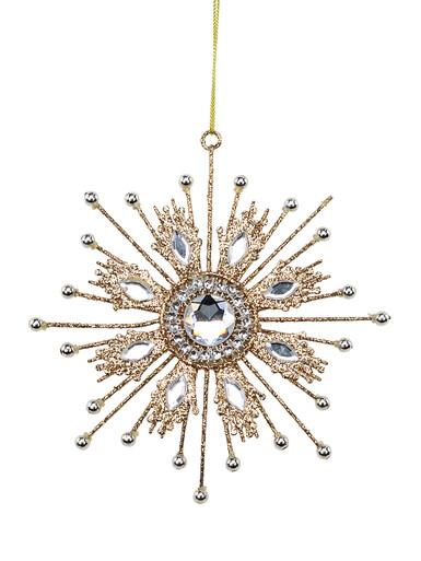 Image of Gold Glitter Snowflake With Encrusted Diamante Hanging Ornament - 14cm