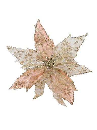 Image of Pink Glittered Mesh & Fabric Leaf Decorative Poinsettia Floral Pick - 23cm