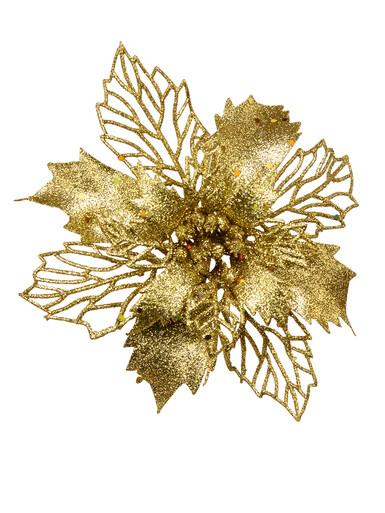 Image of Gold Two Leaf Style Glittered Decorative Poinsettia Floral Pick - 18cm