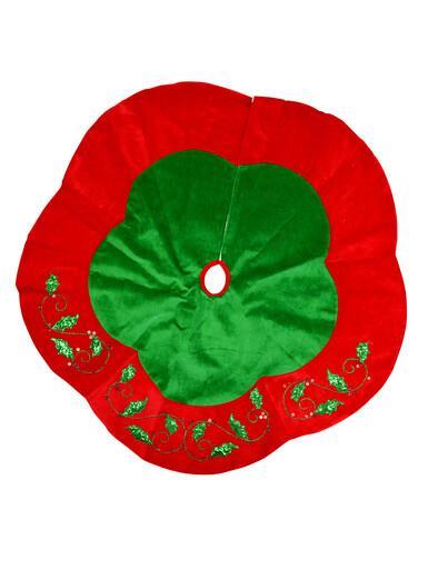 Image of Green & Red Velvet With Holly Leaf Design Christmas Tree Skirt - 1.2m