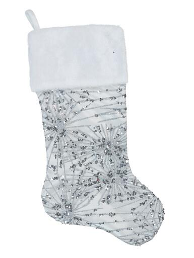 Image of White Satin With Silver Sequin Starburst Pattern Christmas Stocking - 48cm