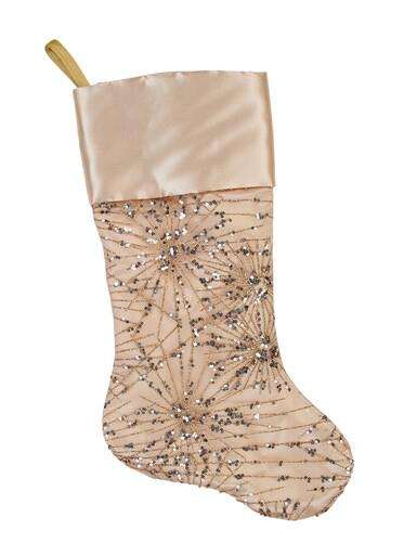 Image of Champagne Satin With Sequin Starburst Pattern Christmas Stocking - 48cm