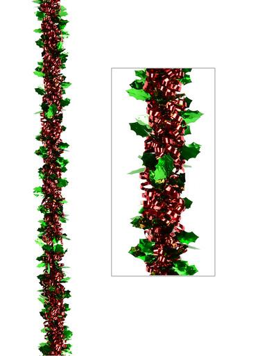 Image of Green Holly Leaf & Red Loop Tinsel Garland - 2.7m