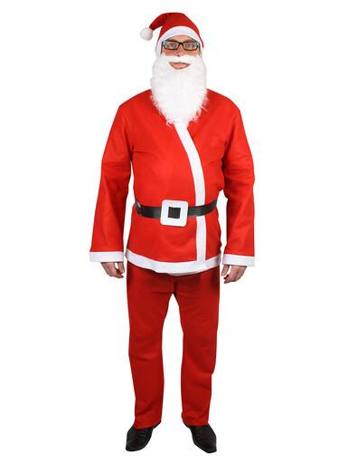 Image of Budget 5 Piece Adult Santa Suit Costume - One Size Fits Most